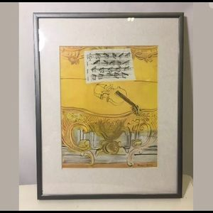 Yellow Console with Violin  - Framed Mini Print